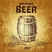 Beer keg. vintage barrel. ear of wheat — Vetorial Stock