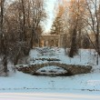 Stock Photo: View with Hump Bridge and Apollo Colonade in Pavlovsky Park on J