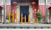 Smoldering Chinese candles at Tam Kung Temple — Stock Photo