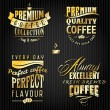 Set of golden vintage retro coffee badges and labels — Stockvector