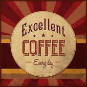 Fondo retro vintage café con tipografía — Vector de stock
