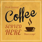 Poster in vintage style with a coffee cup and text — Stock Vector