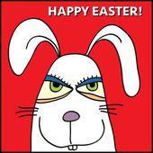 Funny white bunny — Stock Vector