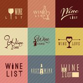 Flat design wine icons for food and drink — Stock Vector