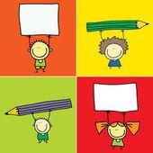 Bambini con il segno bianco e matita — Vettoriale Stock