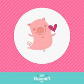 Vector love card with happy animal — Stock Vector