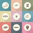 Set of Valentines day vector template flat design — Vettoriale Stock