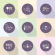 Set of vector flat design wine icons for food and drink — Stock Vector #42902989