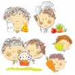 Hand-drawn cartoon kids with healthy food — Stock Vector