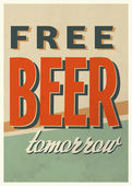 "Vintage ""Free Beer Tomorrow"" Poster — Stock Vector"