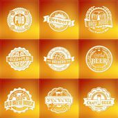 Retro set styled vector label of beer. — Stock Vector