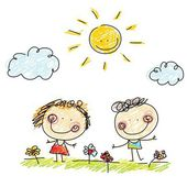 Two children, flowers and sun — Vector de stock