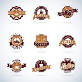 Set of modern vector coffee badges and labels — Stock Vector