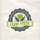 Vintage eco green sticker label — Vecteur