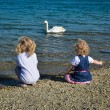 Children and swan — Foto Stock