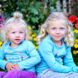 Two blond girls sitting in the garden — Stock Photo #33443325
