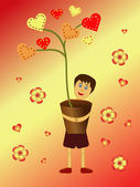 Boy holding a heart flower pot — Stock Vector