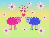Sheeps in love — Vector de stock