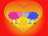 Ovejas en amor — Vector de stock