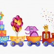 Parrot, giraffe, elephant in train frame — Stock Vector #47640613