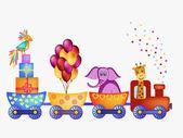 Papegoja, giraff, elefant i tåg ram — Stockvektor