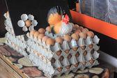 Ovos no pacote com boneca de frango — Fotografia Stock