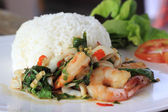 Rice and shrimp with Basil and chili sauce — 图库照片