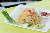 Revuelva el arroz frito con camarones — Foto de Stock