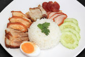 Mix BBQ Pork with steam rice — Stock Photo