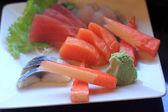 Sashimi (tuna, salmon, fresh fish)  — Stock Photo