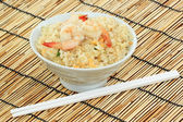 Stirfried rice with shrimp — Stock Photo