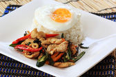 Stir Fried Chicken with Holy Basil and steamed rice (Krapao Gai) — Stock Photo