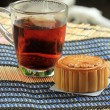 Stock Photo: Moon cake and hot tea