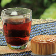 Stockfoto: Moon cake and hot tea