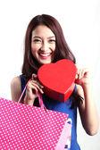 Women look beautiful opening the red Box — Stock Photo