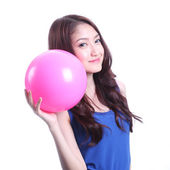 Girl and pink ball — Stock Photo