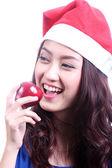 žena jablko — Stock fotografie