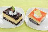 Chocolate Cheesecake and Orange Biscuit ca — Stock Photo