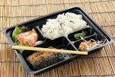 Grill Saba fish with steam rice in set box — Stock Photo