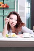 Beautiful housemaid preparing Coffee — Stock Photo