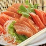 Fresh Salmon seshimi set on the plate — Stock Photo #44577027