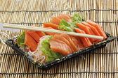 Fresh Salmon sashimi set in the box — Stock Photo