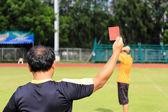 Hand of referee with red card  — Stock Photo