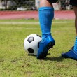 Soccer player will be kicking football — Stock Photo #48071481