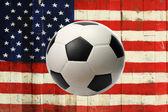 The USA flag with ball — Stock Photo