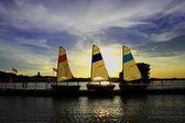 Tres pequeños barcos — Foto de Stock