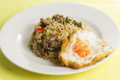 Fried rice with beef chili and basil  — Foto de Stock