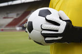 Soccer goalkeeper with ball — Stock Photo