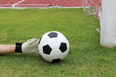 Goalkeeper's hands reaching ball  — Photo