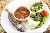 Chili paste with fried mackerel — Stock Photo
